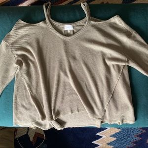 Slouchy, cold-shoulder sweater Anthropologie